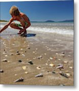 Boy Picking Seashells On The East Coast Metal Print