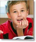 Boy Reading Book Portrait Metal Print