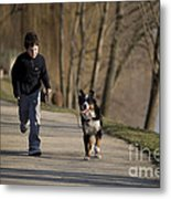 Boy Running With Dog Metal Print