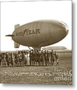 Boy Scouts And Goodyear Blimp Guarding Graf Zeppelin Los Angeles Airport Aug. 26 1929 Metal Print