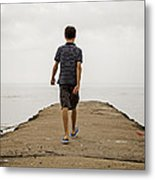 Boy Walking On Concrete Beach Pier Metal Print