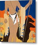 Boy Warrior With Two Borzoi Hounds Metal Print