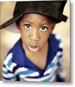 Boy Wearing Over Sized Hat Sideways Metal Print by Ron Nickel