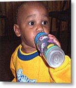 Boy With Bottle Metal Print