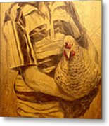 Boy With Chicken Metal Print