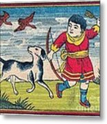Boy With Dog Ducks Hunting. Bow And Arrow. Landscape. Matches. Match Book Antique Matchbox Cover. Metal Print