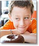 Boy With Donut Metal Print