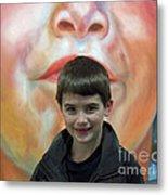 Boy With His Portrait Metal Print