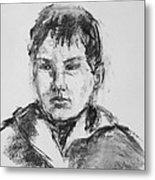 Boy With Hooded Jacket Metal Print