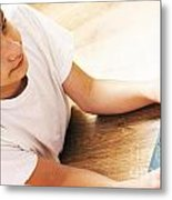 Boy With Notebook Metal Print