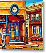Boy With Steinbergs Bag Near Waldmans Market Paintings Colonial St Vintage Montreal Art C Spandau Metal Print