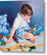 Boy With Train Metal Print