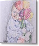 Boy With Tulips Metal Print by Kathy Weidner