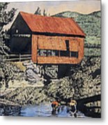 Boys And Covered Bridge Metal Print by Joseph Juvenal