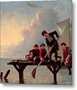 Boys Crabbing Metal Print
