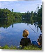 Boys Fishing Metal Print