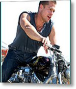 Brad Pitt On His Harley Metal Print by Kip Krause