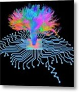 Brain Shaped Circuit Board With Fibres Metal Print