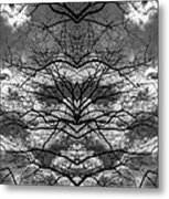 Branches And Clouds Mirrored Metal Print