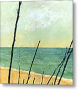 Branches On The Beach - Oil Metal Print by Michelle Calkins