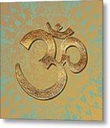 Gold Brass Om Mandala Metal Print