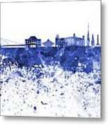 Bratislava Skyline In Blue Watercolor On White Background Metal Print