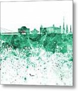 Bratislava Skyline In Gree Watercolor On White Background Metal Print