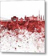 Bratislava Skyline In Red Watercolor On White Background Metal Print