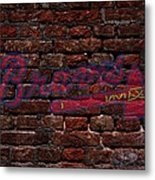 Braves Baseball Graffiti On Brick  Metal Print