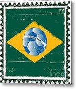 Brazil Flag Like Stamp In Grunge Style Metal Print
