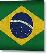 Brazil Flag Vintage Distressed Finish Metal Print