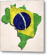 Brazil Map Art With Flag Design Metal Print