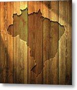Brazil Map On Lit Wooden Background Metal Print