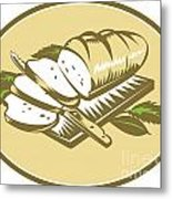 Bread Loaf With Knife And Board Woodcut Metal Print