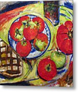 Bread Tomato And Apples Metal Print by Vladimir Kezerashvili
