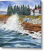 Breakers At Pemaquid Metal Print