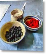 Breakfast In Red White And Blue Metal Print