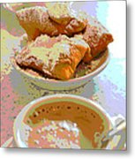 Breakfast Of Champions At Cafe Du Monde Metal Print