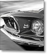 Breaking The Sound Barrier - Mach 1 428 Cobra Jet Mustang In Black And White Metal Print