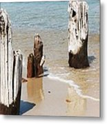 A Unique Breakwater On Martha's Vineyard  Metal Print