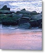 Breakwater Rocks At Sunset Beach Cape May Metal Print