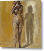 Breast Cancer. Oil Painting Metal Print
