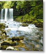 Brecon Waterfall Metal Print