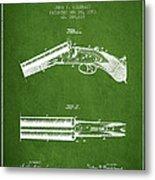 Breech Loading Gun Patent Drawing From 1883 - Green Metal Print