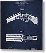 Breech Loading Gun Patent Drawing From 1883 - Navy Blue Metal Print