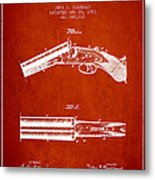 Breech Loading Gun Patent Drawing From 1883 - Red Metal Print