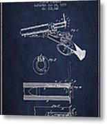 Breech Loading Shotgun Patent Drawing From 1879 - Navy Blue Metal Print
