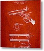 Breech Loading Shotgun Patent Drawing From 1879 - Red Metal Print