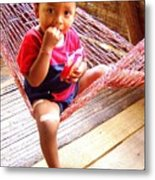 Bribri Indian Child In A Hammock Metal Print