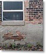 Brick Broken Plaster And Window Metal Print